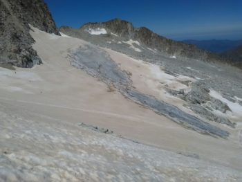 Aspecto del Glaciar del Aneto el 27/7/2017